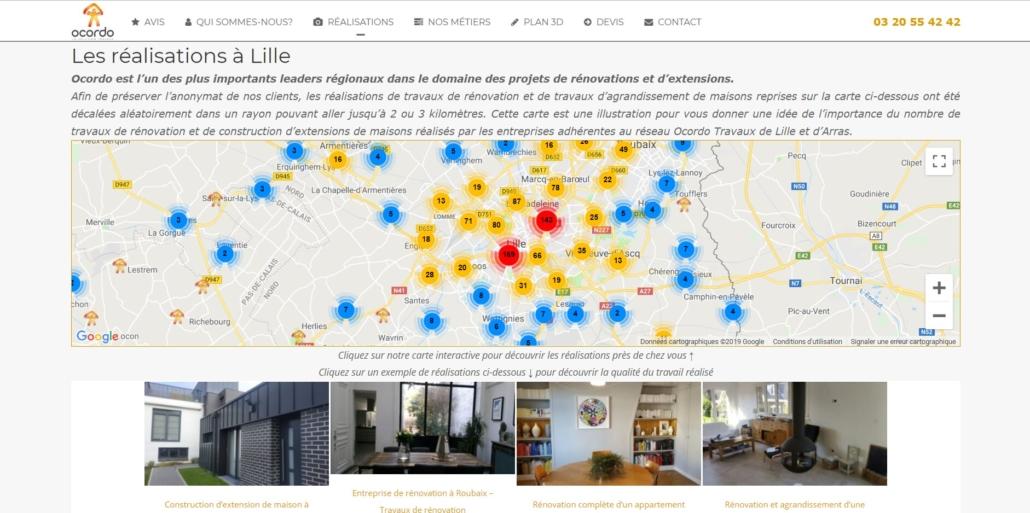 Carte des réalisations à Lille